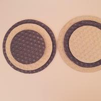 麻模様の陶板丸形 M