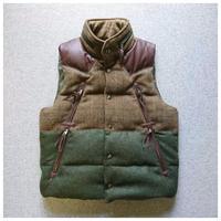 makufuri Tweed down Vest〈Green×Brawn-Check〉