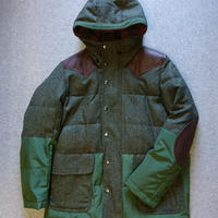 makufuri  Mix Tweed Down Parka 〈Green×D-green〉