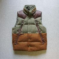 makufuri Tweed down Vest〈Green×Bluegray-Check〉