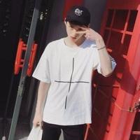 クロス・ラインデザイン クルーネックTシャツ