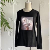フラワープリントロングTシャツblack&white
