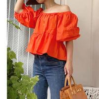 オレンジ刺繍Aライントップス