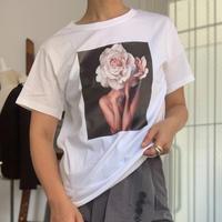 ピンクフラワープリントTシャツ