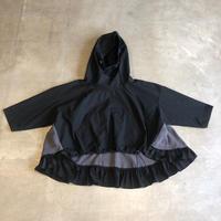 nunuforme / フリルミックスパーカーnf14-560-104A BLACK F(WOMENS)