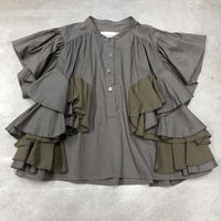 nunuforme /ダブルフリルブラウスnf13-552-010A Charcoal  F(WOMENS)