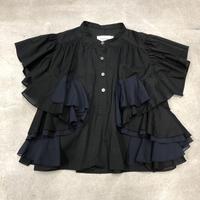 nunuforme /ダブルフリルブラウスnf13-552-010 Black 95.105.115.125.135.145
