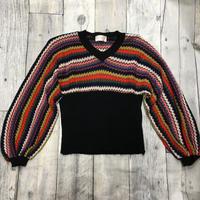 レディース古着 ミックス柄 ボリューム袖セーター[051]