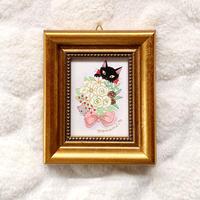 ミニ額絵「白い花束と黒い猫」