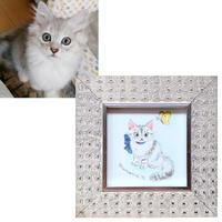愛猫オーダー/ミニ額サイズ(額付き)