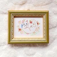 ミニ額絵「白猫と花」