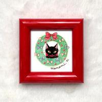 ミニ額絵「黒猫とリース」