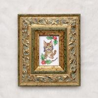 ミニ額絵「キジトラ猫と柊」