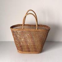 アンティーク かごバッグ 編みかご 買い物籠 市場籠 トートタイプ  い草 天然素材 ナチュラル 繊細な編み目 鞄 美品