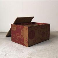 アンティーク木箱  戦前 包装紙 貼紙 木箱 蓋付き  「欧米各国菓子」などと印刷された当時物