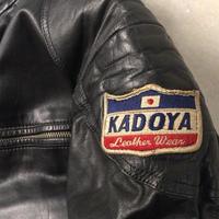 KADOYA  カドヤ   70sヴィンテージ モーターサイクルレザースーツ  セパレート ライダースジャケット  レザーパンツ ワッペン有  オールドカドヤ  made in  JAPAN