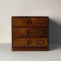 アンティーク 木製無垢  3杯小引き出し ネームホルダー有  古い引出し 摘みエンボスくり抜き 古道具 メンテナンス済 良品