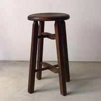 アンティーク丸椅子  木製スツール   木肌焦げ茶