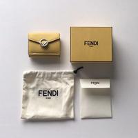 FENDI  フェンディ マイクロ 三つ折り財布  イエローレザー  「エフイズフェンディ」コンパクトウォレット ミニ財布 中古極美品