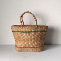 アンティーク かごバッグ 編みかご  買い物籠  市場籠  トートタイプ  ライン有り 天然素材  ナチュラル ランダム編み目  鞄  美品