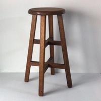木製無垢 ヴィンテージ スツール アンティーク 古い丸椅子 高めのスツール ラワン無垢材  中古美品