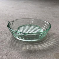 大正〜昭和期  プレスガラス  おろし皿  擦り器  アンティークガラス  気泡・歪み・プレスライン・プレス面等味わい要素満載  淡いグリーン  16cm  無傷完品