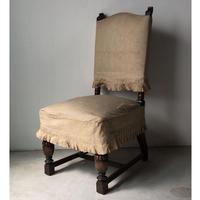 アンティーク アームレス ハイバックチェア 洋館で保管されていた古い椅子 推定50s〜60s  リネンカバー当時物付属. ヴィンテージ家具  完品