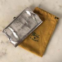 IL BISONTE   イルビゾンテ   メタリックレザー  ガマ口ロングウォレット  プラチナゴールド    54172310440   長財布 がま口    中古美品