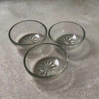 ヴィンテージ  ガラス器 菊紋様 昭和初期 気泡ガラス 深皿 小鉢 古い器 デザート器  ※3点セット