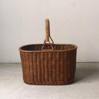 ヴィンテージ  ラタン  買い物籠  編みかご  古いカゴ  籐巻き持ち手  花籠