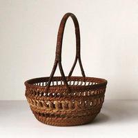 アンティーク フルーツカゴ  細かなレースの様な飾り編み  ヴィンテージラタン籠  ほぼ完品