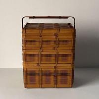 アンティーク 3段 竹編籠 ピクニックバスケット 角物細工 ひしぎ編み 三段重 竹細工 染竹 工芸品 日本 民藝  美品