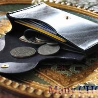 革の宝石ルガトー・ミニマム財布(紺×茶×黒)