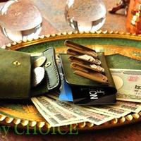 イタリアンレザー・革新のプエブロ・2つ折りコインキャッチャー財布(改)(オリーバ)