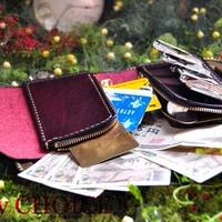 革の宝石ルガトー・二つ折りコインキャッチャー財布(葡萄酒)