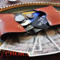 イタリアンレザー・革新のプエブロ・コンパクト2つ折り財布(コニャック×オリーバ)