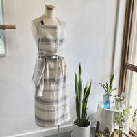 mom Apron with Cloth  ( natural stripe )