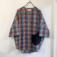 over-sized pocketing blouse / blue-orange check