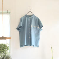 chibi-collar half-sleeve shirt  (smokey blue)