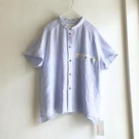 chibi-collar half-sleeve shirt  (blue stripe x brown B)