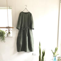 french linen  balloon dress  (khaki)