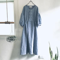 linen dungaree W button dress