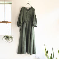 french linen  W button dress  (khaki)