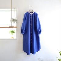 french linen stand color I-line P dress  (cobalt blue)
