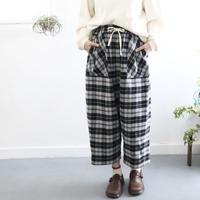 cotton-flannel bakers sarruel 2nd pants (black check)