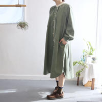 cotton corduroy stand color I-line P dress (smokey green)