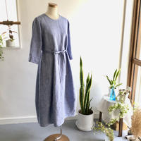 linen dungaree balloon dress  (light blue dungaree)