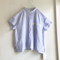 chibi-collar half-sleeve shirt  (blue stripe x white B)