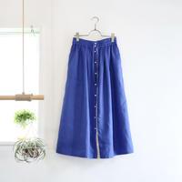french linen front button skirt (cobalt blue)