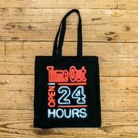 タイムアウト'Open 24 Hours' 黒キャンバストートバッグ / Time Out 'Open 24 Hours' black canvas tote bag